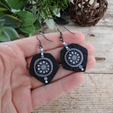 Black and White Statement Dangle Earrings with an Abstract Pattern