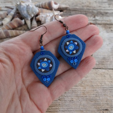 Unique Blue and Brown Dangle Earrings