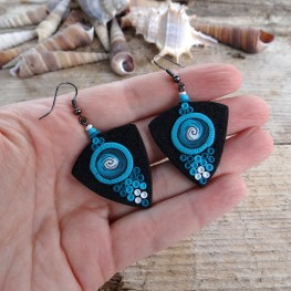 Black Statement Dangle Earrings with a Turquoise Spiral Pattern